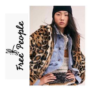 Free People Leopard Print Faux Fur Coat NWT
